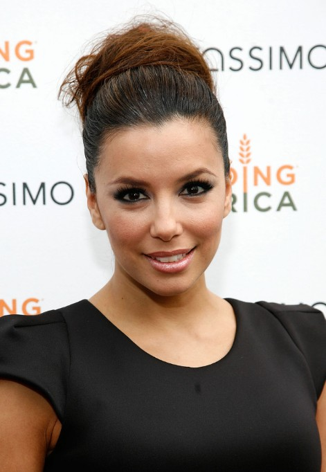 Eva Longoria Textured Bun Wedding Updo Hairstyle 2013