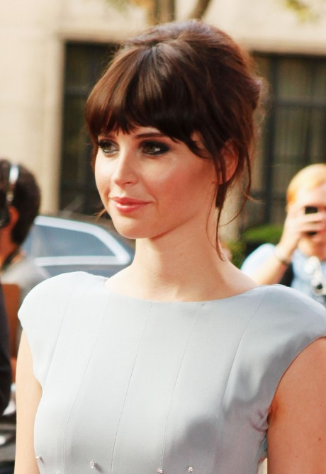 Fine Felicity Jones Hairstyle With Long Blunt Bangs Hairstyles Weekly Short Hairstyles Gunalazisus