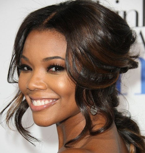 Gabrielle Union Cute Half Up Half Down Hairstyle with Curls