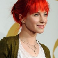 Hayley Williams Cute Red Loose Bun Updo With Blunt Bangs