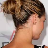 Back View of Bobby Pinned High Bun Updo from Heidi Klum