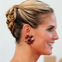 Heidi Klum Latest Hairstyles: Generous Cool Twisted Updo