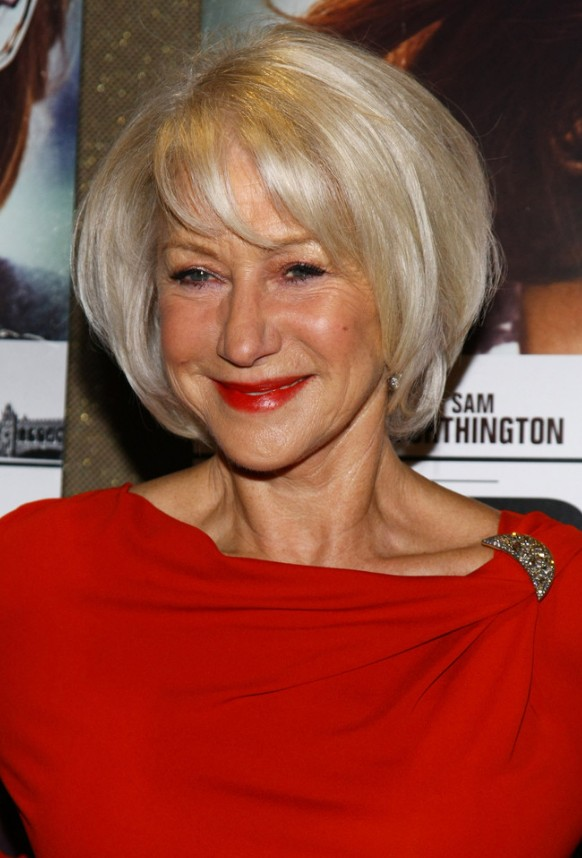 helen mirren short bob hairstyle for ladies over 60s
