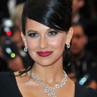 Hilaria Thomas Elegant Formal Black Updo With Side Bangs 2013