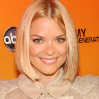 Jaime King short sleek center parted bob hairstyle