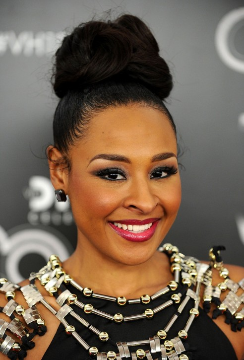 2013 Black High Loose Bun Updo for Black Women