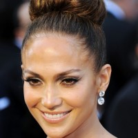 Jennifer Lopez Formal Bun Hairstyle for Long Hair