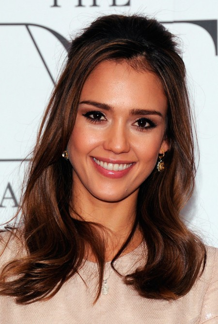 Jessica Alba Half Up Half Down Hairstyles for Long Hair