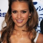 Jessica Alba Honey Brown Half Up Half Down Hairstyle