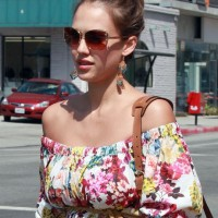 Jessica Alba Stylish High Bun Updo 2013 hairstyles