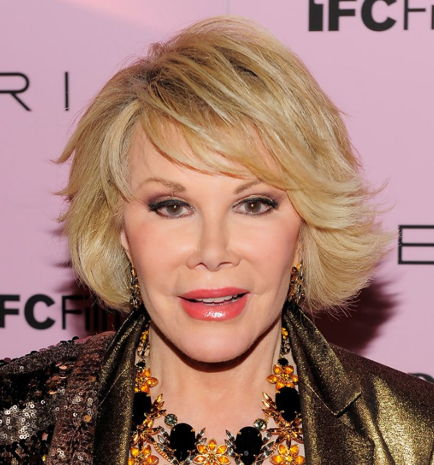 Joan Rivers short hairstyle with side swept bangs