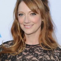 Judy Greer Half Up Half Down Hairstyle with Side Swept Bangs