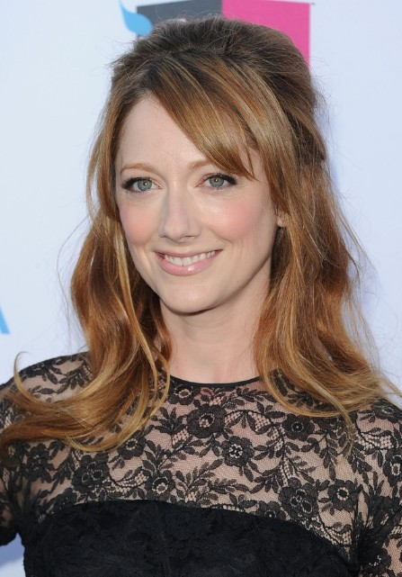 Enjoyable Judy Greer Half Up Half Down Wedding Hairstyle With Side Swept Short Hairstyles For Black Women Fulllsitofus