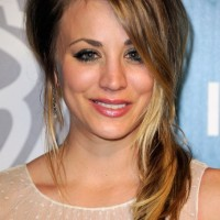 Kaley Cuoco Half Up Half Down Hairstyle with Long Side Bangs