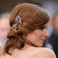 Kate Mara Red Bobby Pinned Updo Hairstyle
