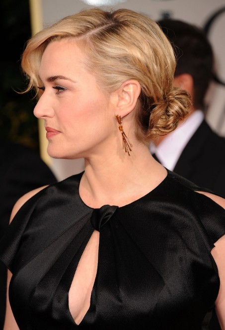2013 Bun Updo Hairstyles: Kate Winslet Casual Low Loose Bun Updo