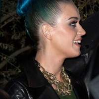 Katy Perry Stylish Blue Bun Updo Hairstyle for Long Hair
