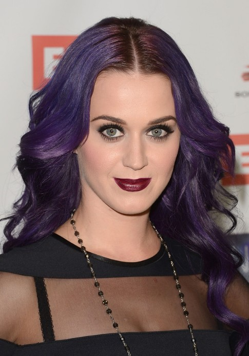 Katy Perry Long Wavy Purple Hairstyle Hairstyles Weekly