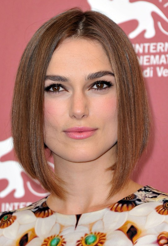 Keira Knightley A line bob hairstyle