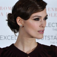 Keira Knightley Finger Wave Loose Bun Updo for Wavy Hair