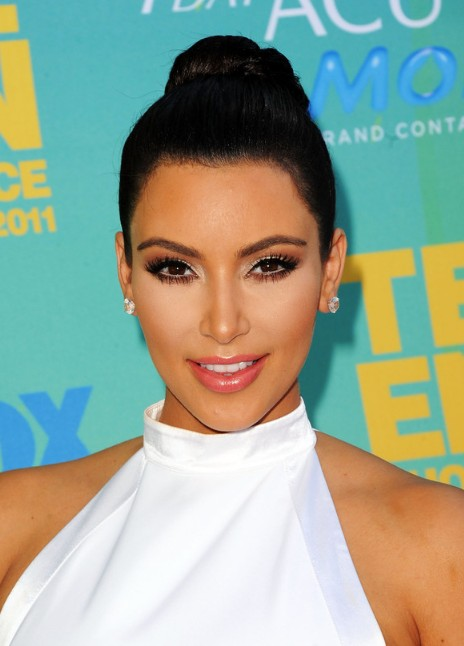 Kim Kardashian Black Formal Bun Updo Hairstyle