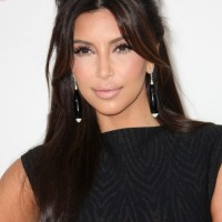 Kim Kardashian Shiny Long Hairstyles