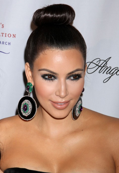 2013 - 2014 Sleek Bun Prom Hairstyles from Kim Kardashian