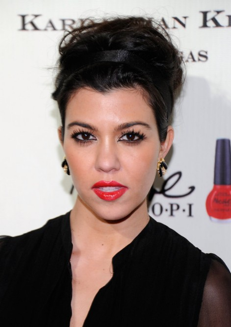 Kourtney Kardashian Casual Tousled Messy Updo