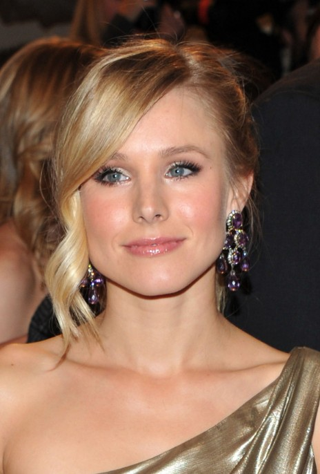 Kristen Bell Hairstyles with Side Swept Bangs