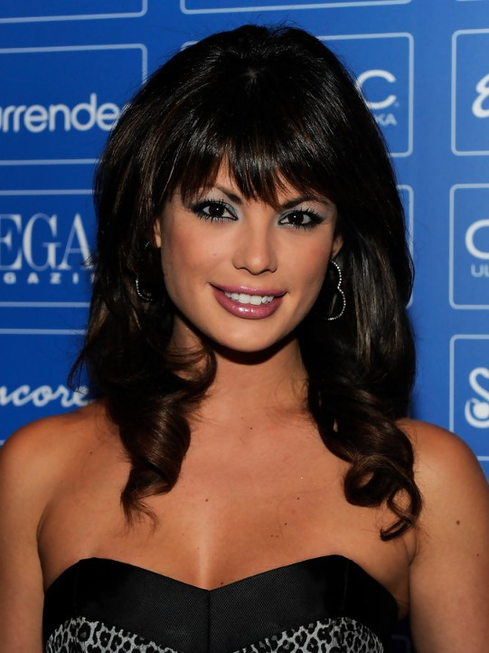 Fine Laura Croft Medium Black Curly Hairstyle With Bangs Hairstyles Hairstyles For Women Draintrainus