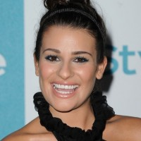 Lea Michele Casual Messy Updo with Headband