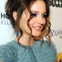 Sexy Loose Bun Updo With Long Curls from Leighton Meester