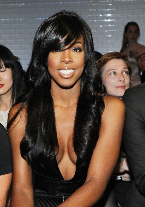 Long Black Hair Style with Side Swept Bangs for Black Women