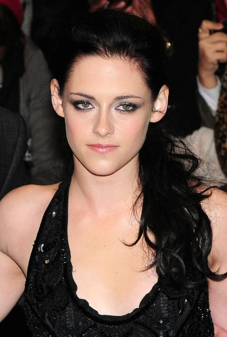 Long Black Side Ponytail from Kristen Stewart