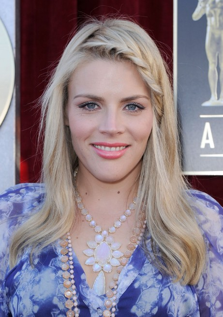 Long Blond Hairstyle with Braided Bangs - Busy Philipps Hairstyles