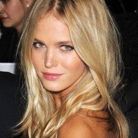 Erin Heatherton Long Blonde Center Part Hairstyle 2013