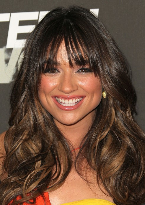 Terrific Long Black Hairstyle With Soft Curls And Wispy Bangs Hairstyles Short Hairstyles Gunalazisus