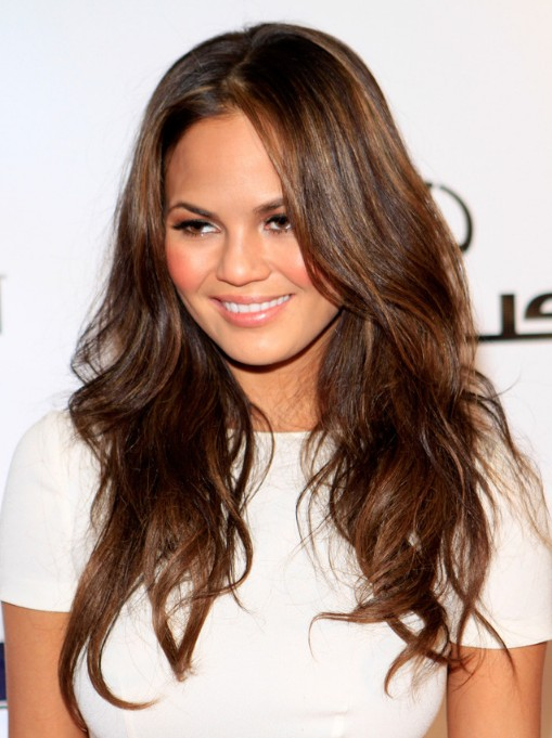 Chrissy Teigen Long Layered Hairstyle with Rumpled Waves