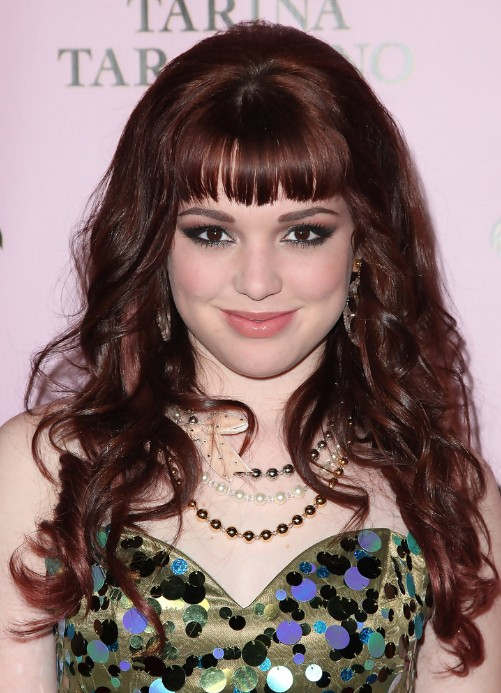 Jennifer Stone Long Red Curly Hairstyle with Blunt Bangs