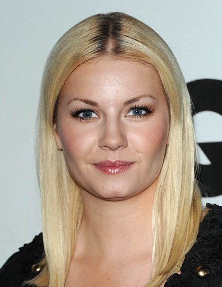 Long Sleek Center Parted Hairstyle from Elisha Cuthbert
