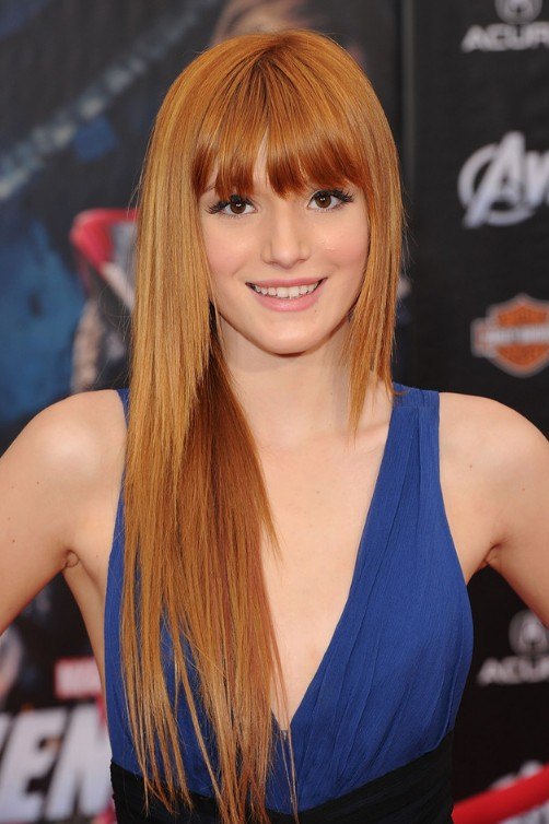 Long Sleek Copper Shimmer Hairstyle with Bangs