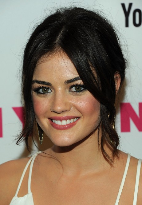 Lucy Hale Black Loose Bun Updo With Center Part Bangs