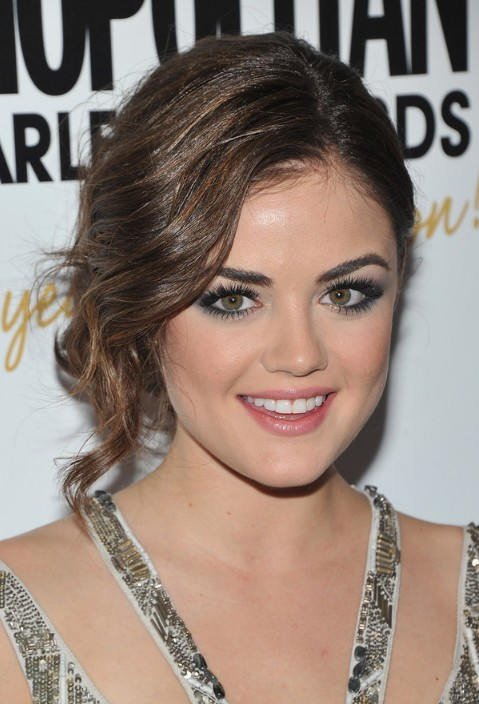 Lucy Hale Hairstyle with Side Swept Bangs for Prom and Wedding