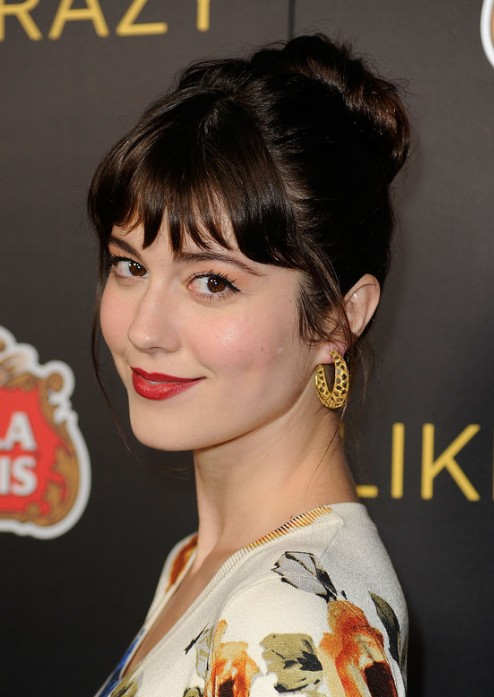 Mary Elizabeth Winstead Cute Bun Updo Hairstyles with Bangs