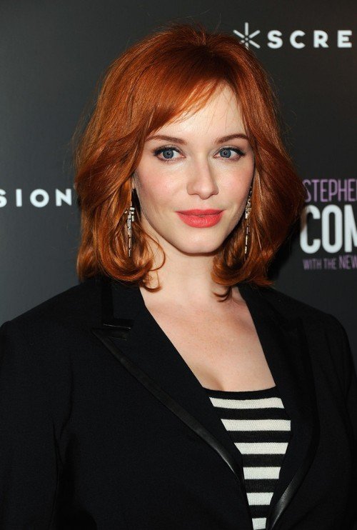 Christina Hendricks Medium Fiery Red Wavy Hairstyle for Women
