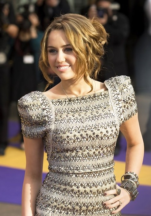 Miley Cyrus Messy Curly Updo Hairstyle