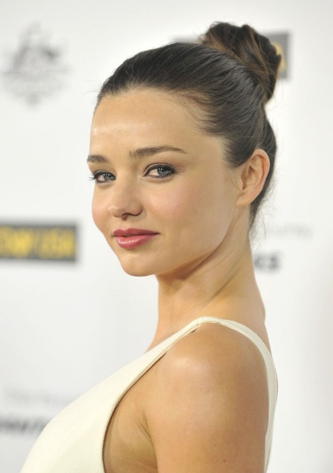 Miranda Kerr Simple High Bun Hairstyle 2013 - 2014