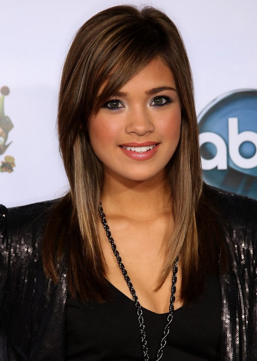 Nicole Anderson Long Sleek Hairstyle with Side Bangs Top 10 Women Hairstyles for 2013