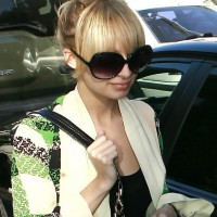 Nicole Richie Messy Top Knot Hairstyle
