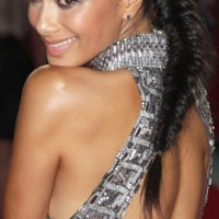 Nicole Scherzinger Long Black Fish Bone Braid